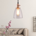 Industrial Glass Pendant Light Single Light Bell Hanging Light Fixtures for Corridor