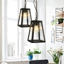 Black Pyramid Hanging Lights Traditional Iron and Glass 1-Light pendant Lighting with Chain