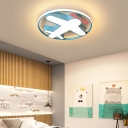 Nordic Cartoon Airplane Flush Light Metal LED Ceiling Flush Mount Light in Blue