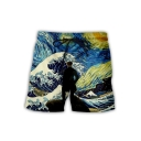 Fashion Ukiyo-e Style 3D Wave Pattern Drawstring Waist Beach Swim Shorts