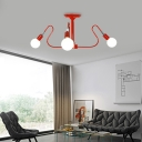 Curve Bedroom Semi Flush Ceiling Light Metal 3/6 Light Modern Flush Mount Light in Blue/Red