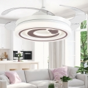 White and Brown Ceiling Fixture Modern Acrylic and Metal 1-Light Fan Light for Living Room Bedroom Kids Room