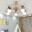 Cartoon Little Animals Ceiling Chandelier Iron and Acrylic 5 Light Ceiling Fan for Baby Kids Bedroom
