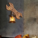 Nautical Lantern Sconce Lamp Iron and Glass 1 Head Sconce Light Fixture with Wooden Base in Black for Bar