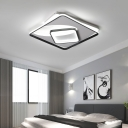 Rectangle/Square Indoor Ceiling Light Metal LED Contemporary Flush Mount Fixture in Black and White