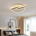 Ellipse Living Room Semi-Flush Mount Metal LED Contemporary Ceiling light in Black