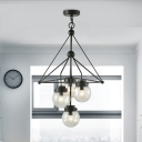 Black Finish Ball Hanging Light 3-Light Modern Simple Clear Seeded Glass Chandelier