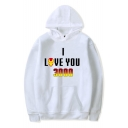 New Trendy Letter I Love You 3000 Printed Long Sleeve Loose Fitted Hoodie