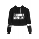 New Trendy Letter Dunder Mifflin Print Striped Long Sleeve Crop Hoodie