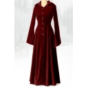 Vintage Medieval Button-Front Bell Sleeve Maxi A-line Hooded Dress