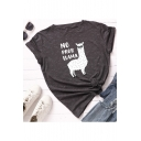 NO PROB LLAMA Letter Alpaca Printed Short Sleeve Round Neck Loose Casual T-Shirt