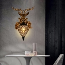 Resin Stag Head Wall Lighting with Globe Shade Village Style 1 Light Wall Sconce in Black