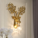 Art Deco Modern Deer Wall Light with Crystal Lampshade Metal 1 Light Wall Sconce