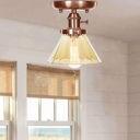 Antique Creative Semi Flush Light Iron and Glass 1 Head Ceiling Fixture in Antique Copper for Bedroom