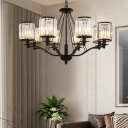 Crystal Fringe Chandelier Light Modern Iron Cylinder Ceiling Chandelier in Black for Dining Room