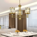Cylinder Pendant Chandelier Mid-Century Crystal and Metal Pendant Lights for Kitchen Dining