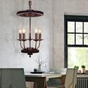 Gear Hanging Light Fixtures Retro Industrial Metal 1/5 Lights Rope Pendant Chandelier for Indoor