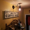Antique Bare Bulb Wall Mounted Light Metal 1 Bulb Gooseneck Sconce Lamp in Black for Coffee Shop