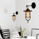 Black Caged Wall Light Sconce Mediterranean Iron 1 Light Wall Sconce Lighting for Coffee Shop