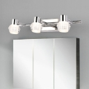 Creative Linear Sconce Lights Modern Stainless Steel 2/3 Heads Wall Lighting for Bathroom