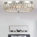 White Chrome Round Flush Mount Lamp Modern Metal Crystal Shade Flush Mount Light for Bedroom