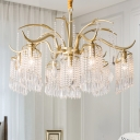 Unique Deer Antler Ceiling Pendant Lights Modern Crystal and Metal 3/7 Heads Lighting Fixture for Dining Room