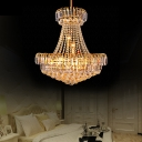 Candle Pendant Ceiling Lights for Villa, Traditional Crystal Bead Pendant Light Fixtures in Gold
