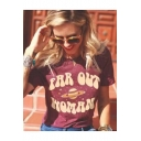 FAR OUT WOMAN Letter Print Round Neck Short Sleeve Purple Casual Loose Summer T-Shirt