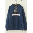 Lovely Cat Pattern Long Sleeve Lapel Collar Tie Front Pocket Loose Sweatshirt For Girls