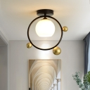 1 Light Ball Semi Flush Light Modern Opal Glass Decorative Semi Flush Mount Light with Metal Ring