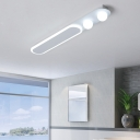 White Linear Flush Light with 2 Global Shade Nordic Simple Acrylic Ambient Lighting