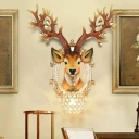Novelty Elk Wall Lighting Modern Resin 1 Light Sphere Sconce Light Fixture for Living Room