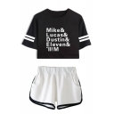 New Fashion Figure Name Mike Lucas Dustin Printed Crop Tee with Dolphin Shorts Two-Piece Set