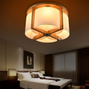 Wooden Drum Flush Mount Light  4/6 Light Modern Wood Ceiling Light Fixture For Living Room