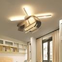 Wood Helicopter Flush Ceiling Light Integrated Led Cartoon Flushmount Light, 23.5