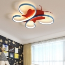 Butterfly Flush Mount Lighting Cartoon Acrylic Led Ceiling Flush Lamp for Kids