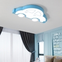 Nordic Cartoon Car Flush Lighting Acrylic Integrated Led Flush Mount Light for Play Room