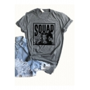 Halloween Squad Figure Printed Round Neck Short Sleeve Leisure T-Shirt