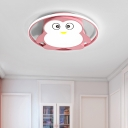 Cartoon Penguin Flush Lighting Metal Led Boys Girls Ceiling Flushmount with Acrylic Shade