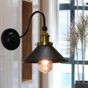 1-Light Cone-Shaped Sconce Light Vintage Metal Gooseneck Sconce Light Fixtures for Indoor