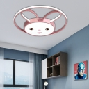Modern Pink Flush Mount Ceiling Light Metal and Acylic 1 Light Flush Mount Lighting for Bedroom