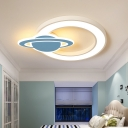 White and Blue Space Flush Ceiling Lights Modern Acrylic and Iron 1 Light Flush Mount Light