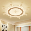 White Steering Wheel Flush Ceiling Lights Nautical Acrylic 1 Light Flush Mount Lighting