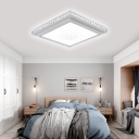 Crystal Accent Square/Rectangle Mount Fixture for Living Room LED Modern Acrylic Flush Light in White