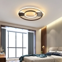 Contemporary Ring Semi Flush Mount Fixture Acrylic Black Ceiling Light for Living Room