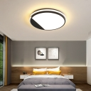 Acrylic Round Flush Light Modern Simple Led Bedroom Flush Ceiling Light in Black
