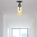 Black Semi Flush Mount Retro Style Iron 1 Light Semi Flush Light Fixtures for Bedroom