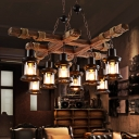 8-Light Hanging Ceiling Lights Lodge Wood and Iron Rope Pendant Hanging Lights in Black for Coffee Shop