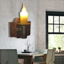 1 Bulb Candle Wall Sconce Light Country Metal Wall Sconce Light Fixture with Wood for Foyer
