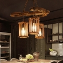Rustic Cylinder Pendant Light Fixtures Iron and Wood Hanging Light Fixtures for Restaurant